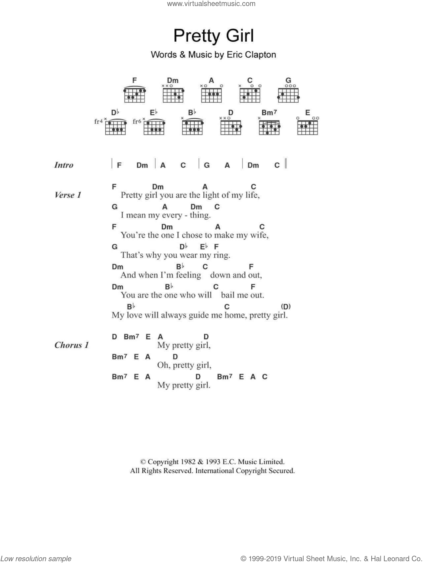 Pretty Girl sheet music for guitar (chords) by Eric Clapton, intermediate skill level
