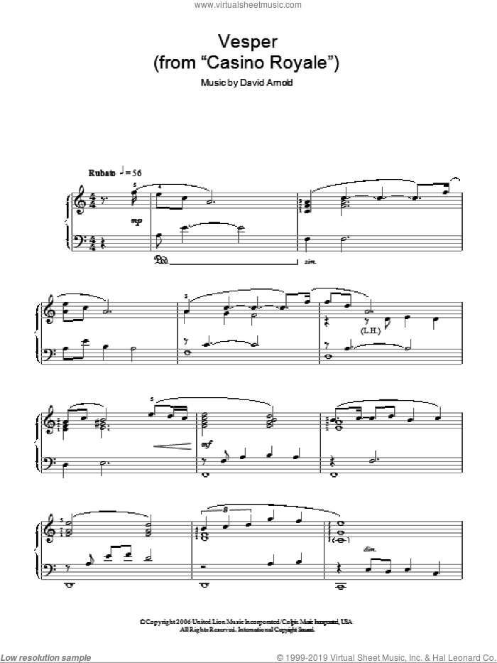 Vesper sheet music for piano solo by David Arnold. Score Image Preview.