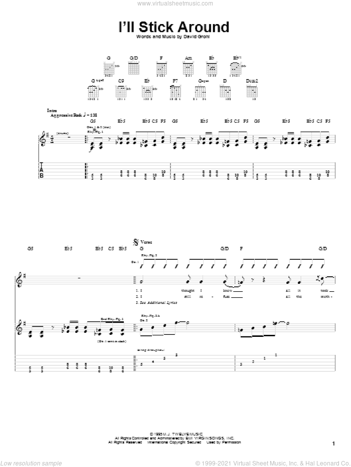 I'll Stick Around sheet music for guitar (tablature) by Foo Fighters, intermediate. Score Image Preview.