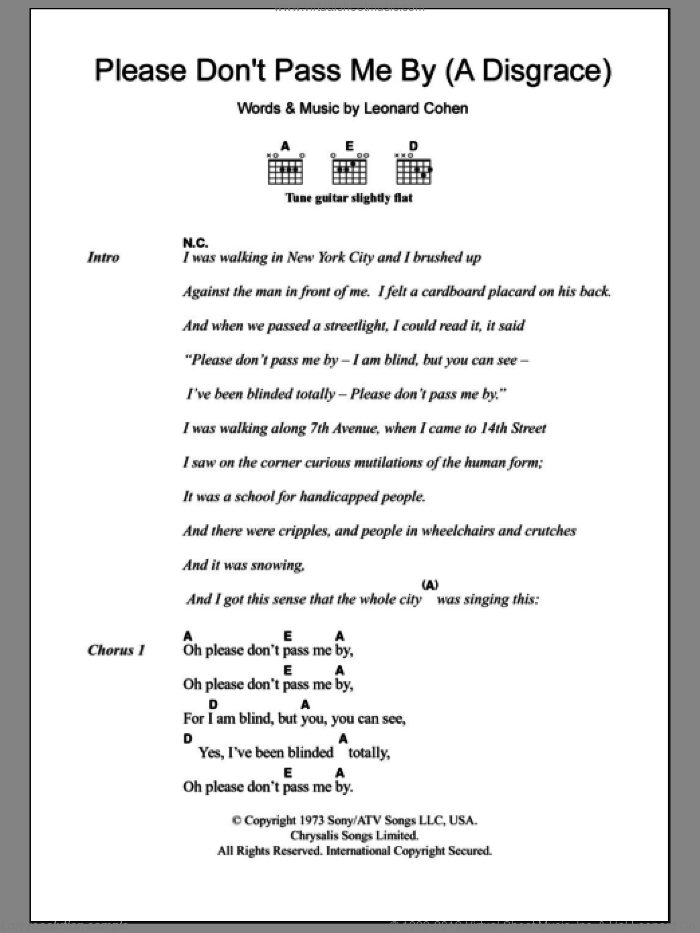 Please Don't Pass Me By (A Disgrace) sheet music for guitar (chords) by Leonard Cohen, intermediate