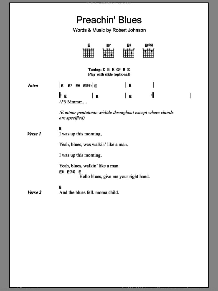 Preachin' Blues (Up Jumped The Devil) sheet music for guitar (chords) by Robert Johnson and Jeff Buckley, intermediate guitar (chords). Score Image Preview.