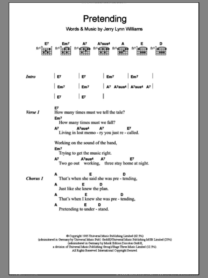 Pretending sheet music for guitar (chords) by Jerry Lynn Williams and Eric Clapton. Score Image Preview.