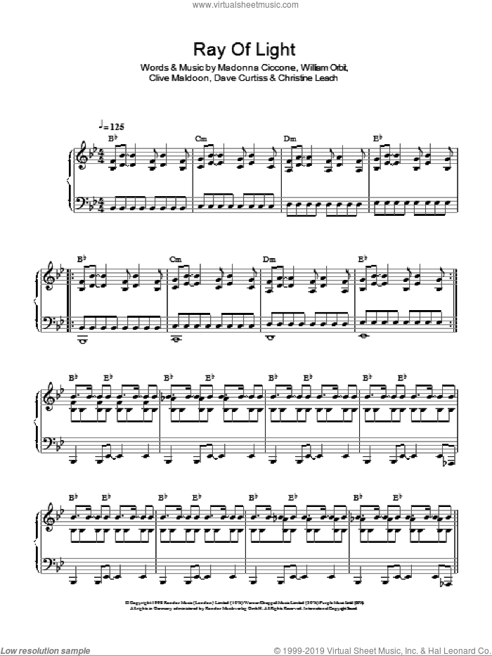 Ray Of Light sheet music for voice, piano or guitar by William Orbit