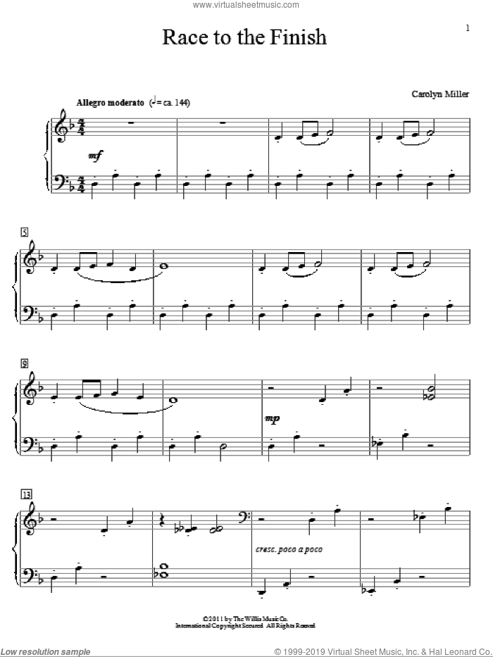 Race To The Finish sheet music for piano solo (elementary) by Carolyn Miller. Score Image Preview.