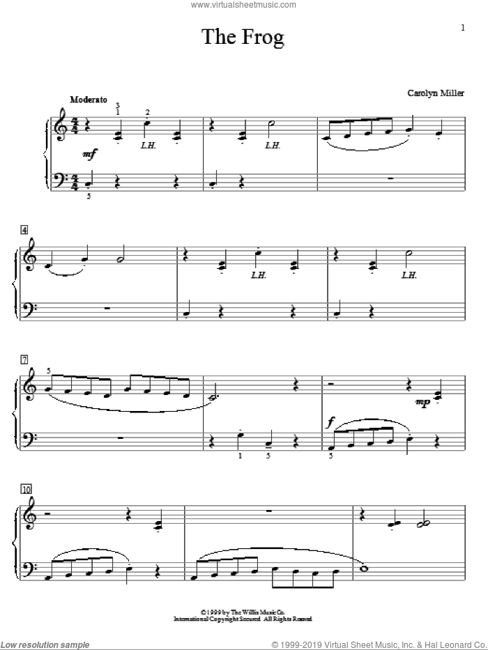 The Frog sheet music for piano solo (elementary) by Carolyn Miller, beginner piano (elementary)