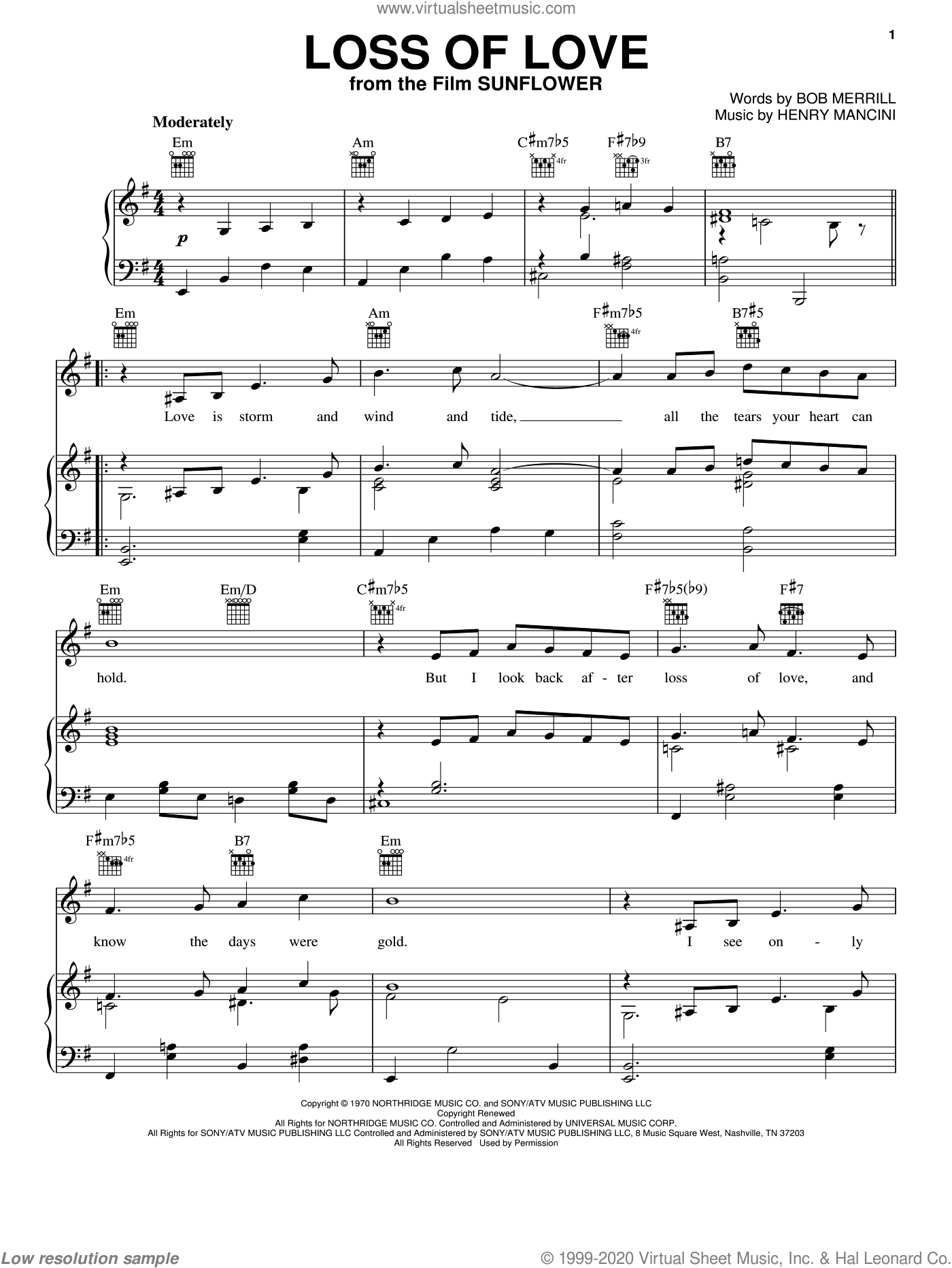 Loss Of Love sheet music for voice, piano or guitar by Henry Mancini and Bob Merrill, intermediate skill level