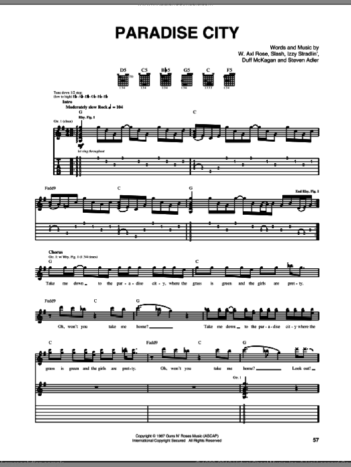 Paradise City (live version) sheet music for guitar (tablature) by Guns N' Roses, Axl Rose, Duff McKagan, Slash and Steven Adler, intermediate skill level