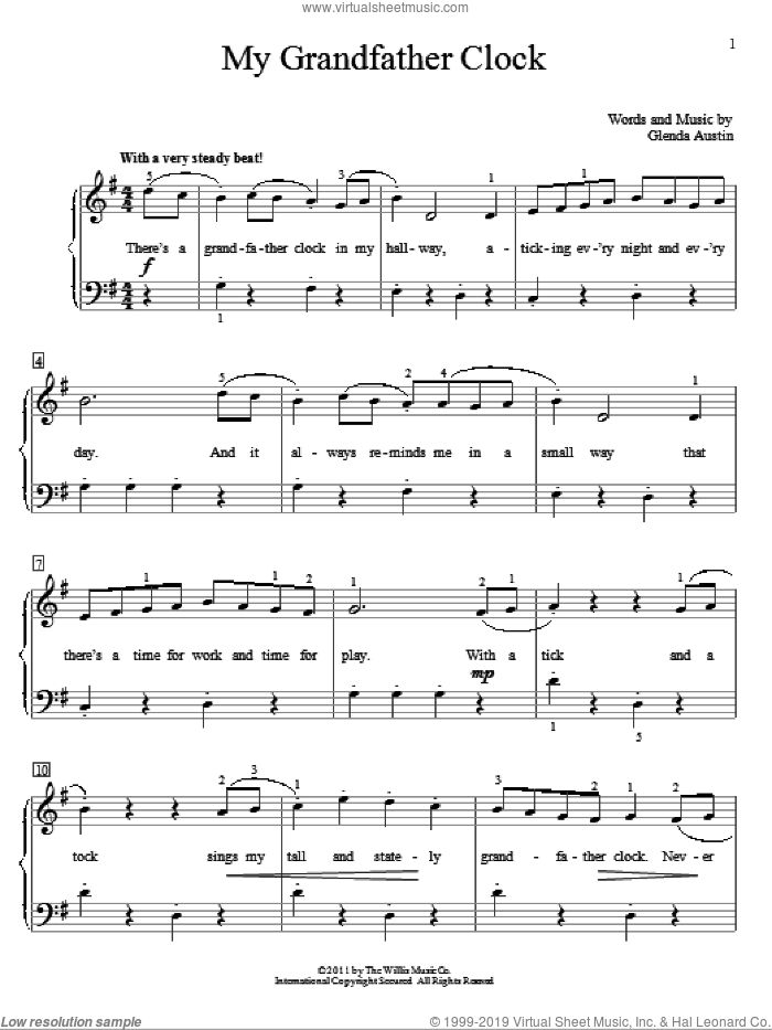 My Grandfather Clock sheet music for piano solo (elementary) by Glenda Austin, beginner piano (elementary)
