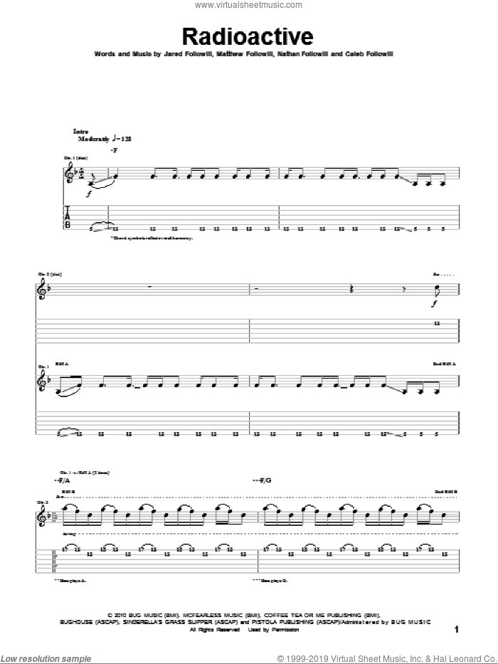 Radioactive sheet music for guitar (tablature) by Kings Of Leon. Score Image Preview.