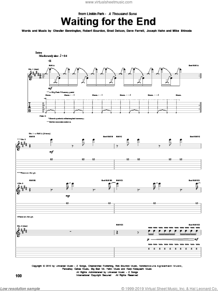 Waiting For The End sheet music for guitar (tablature) by Linkin Park, Brad Delson, Chester Bennington, Dave Farrell, Joseph Hahn, Mike Shinoda and Rob Bourdon, intermediate skill level