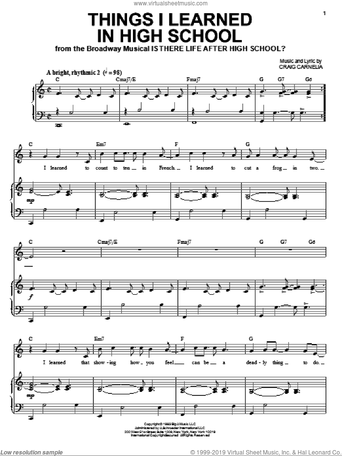 Things I Learned In High School sheet music for voice and piano by Craig Carnelia, intermediate skill level
