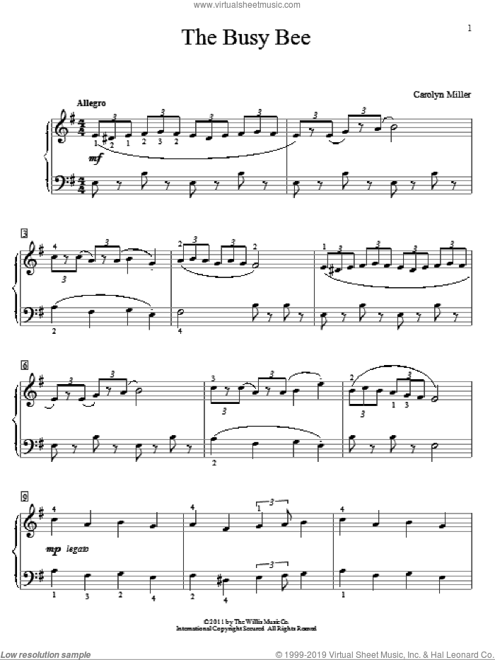 The Busy Bee sheet music for piano solo (elementary) by Carolyn Miller, beginner piano (elementary). Score Image Preview.