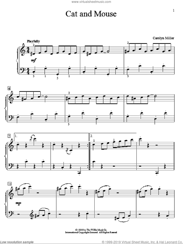 Cat And Mouse sheet music for piano solo (elementary) by Carolyn Miller, beginner piano (elementary)