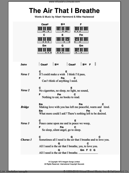 The Air That I Breathe sheet music for piano solo (chords, lyrics, melody) by Michael Hazelwood, The Hollies and Albert Hammond. Score Image Preview.