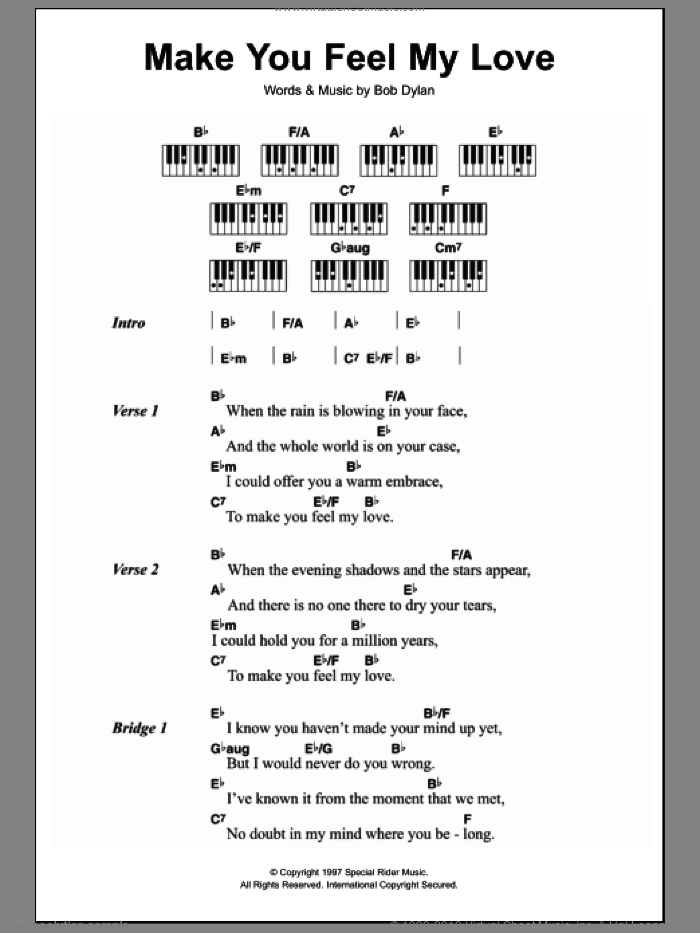 Make You Feel My Love sheet music for piano solo (chords, lyrics, melody) by Bob Dylan. Score Image Preview.