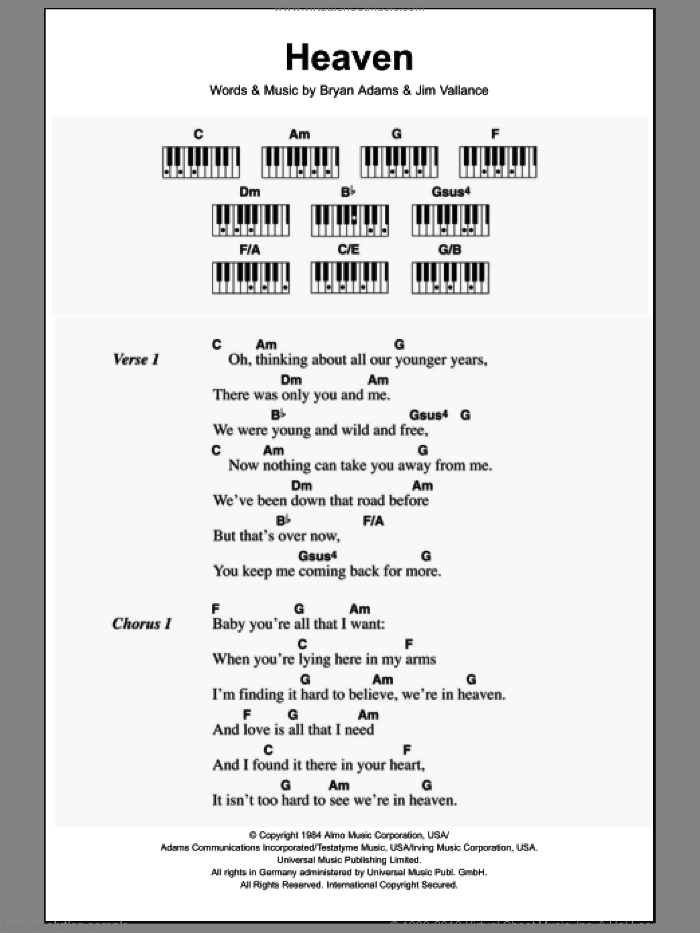 Heaven sheet music for piano solo (chords, lyrics, melody) by Bryan Adams and Jim Vallance, intermediate piano (chords, lyrics, melody)