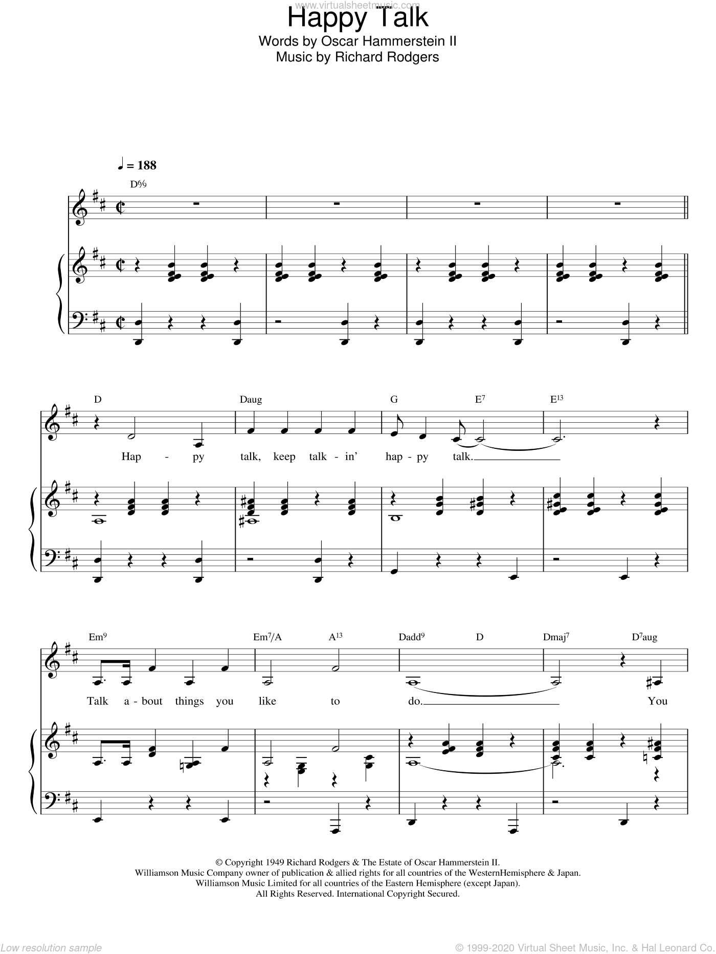 Happy Talk sheet music for voice and piano by Richard Rodgers, Rodgers & Hammerstein and Oscar Hammerstein. Score Image Preview.