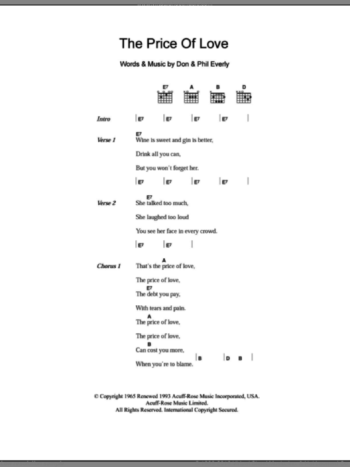 The Price Of Love sheet music for guitar (chords) by Phil Everly