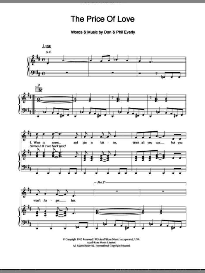 The Price Of Love sheet music for voice, piano or guitar by Phil Everly
