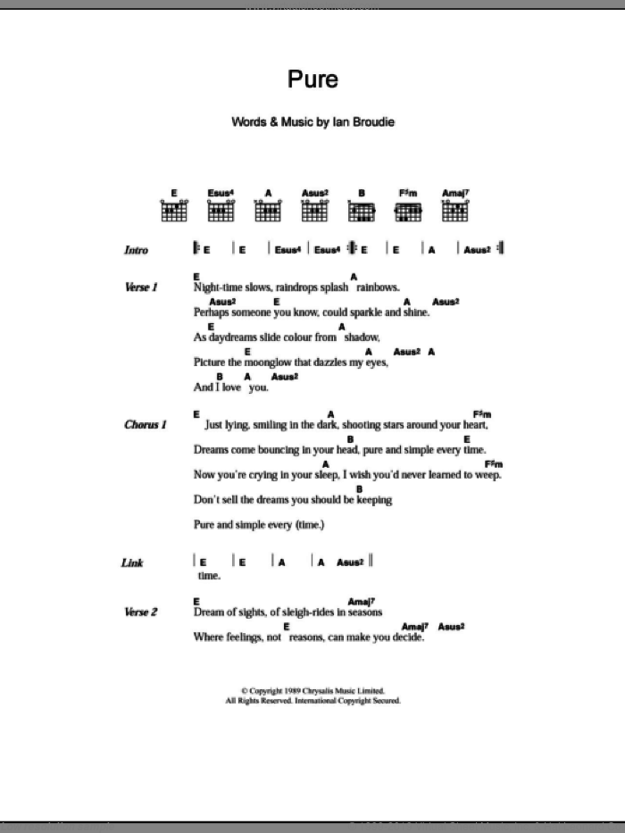 Pure sheet music for guitar (chords) by Ian Broudie and The Lightning Seeds. Score Image Preview.