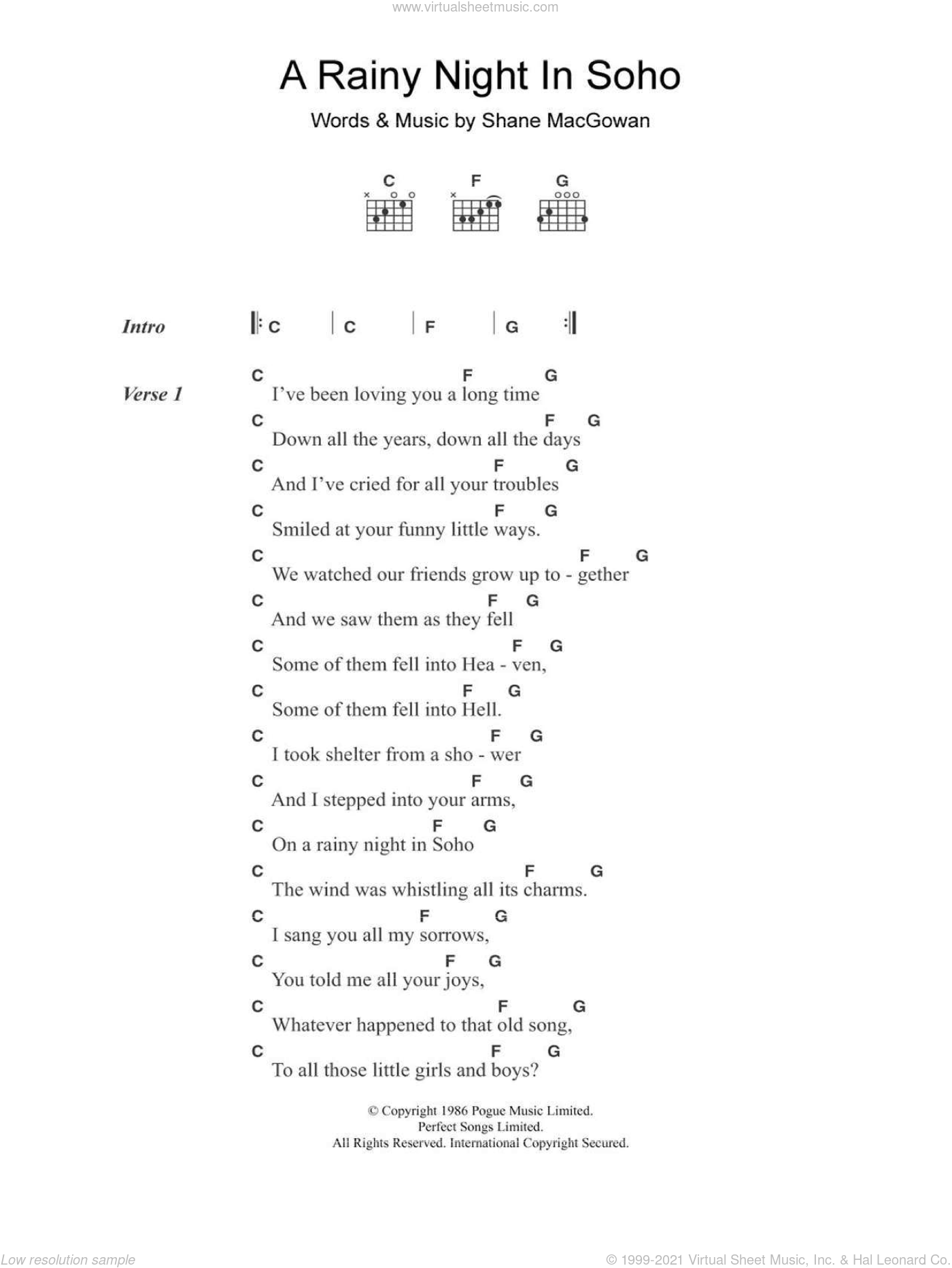 A Rainy Night In Soho sheet music for guitar (chords) by The Pogues and Shane MacGowan, intermediate skill level