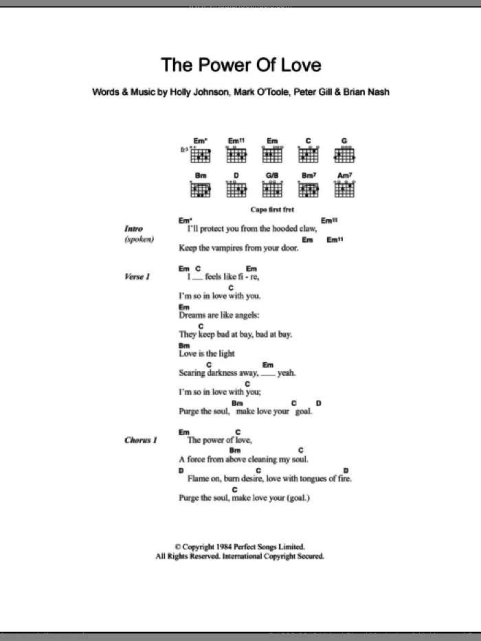 The Power Of Love sheet music for guitar (chords) by Peter Gill, Brian Nash and Holly Johnson, intermediate skill level