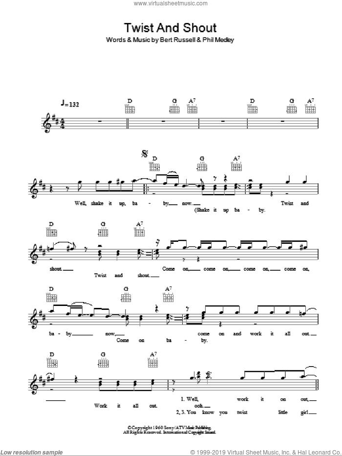 Twist And Shout sheet music for voice and other instruments (fake book) by Phil Medley, The Beatles and Bert Russell. Score Image Preview.