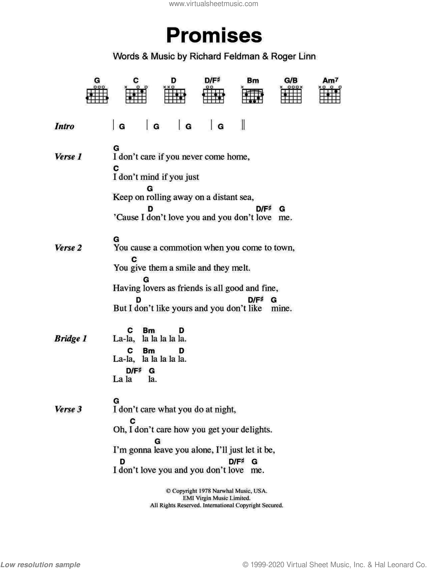 Promises sheet music for guitar (chords) by Eric Clapton, Richard Feldman and Roger Linn, intermediate skill level