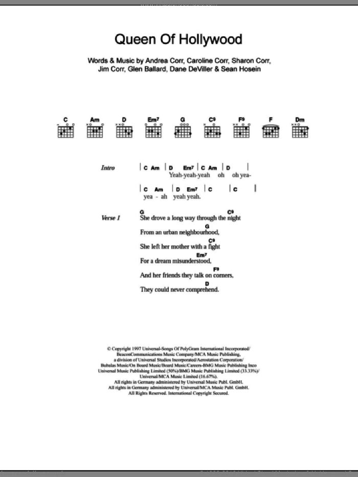 Queen Of Hollywood sheet music for guitar (chords) by Sharon Corr