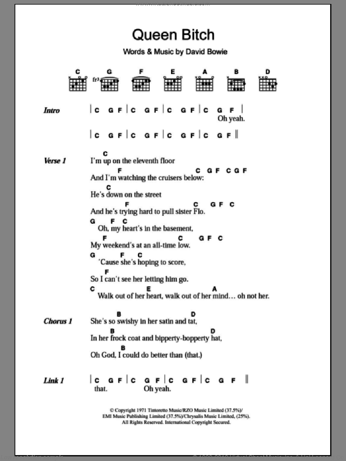 Queen Bitch sheet music for guitar (chords) by David Bowie. Score Image Preview.