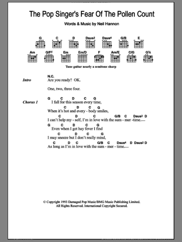 The Pop Singer's Fear Of The Pollen Count sheet music for guitar (chords) by Neil Hannon