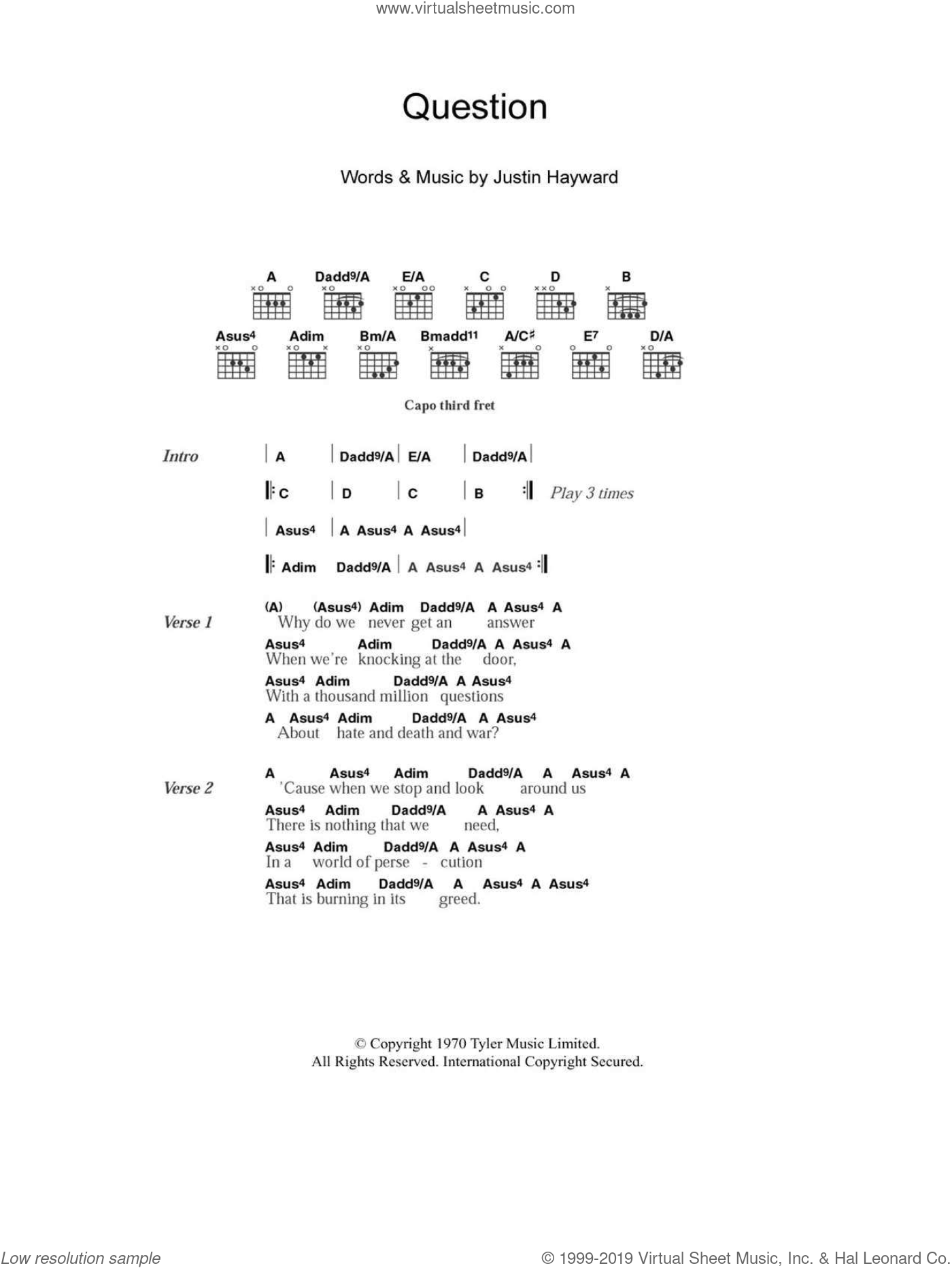 Question sheet music for guitar (chords) by The Moody Blues. Score Image Preview.
