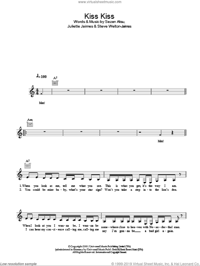 Kiss Kiss sheet music for voice and other instruments (fake book) by Holly Valance, intermediate. Score Image Preview.