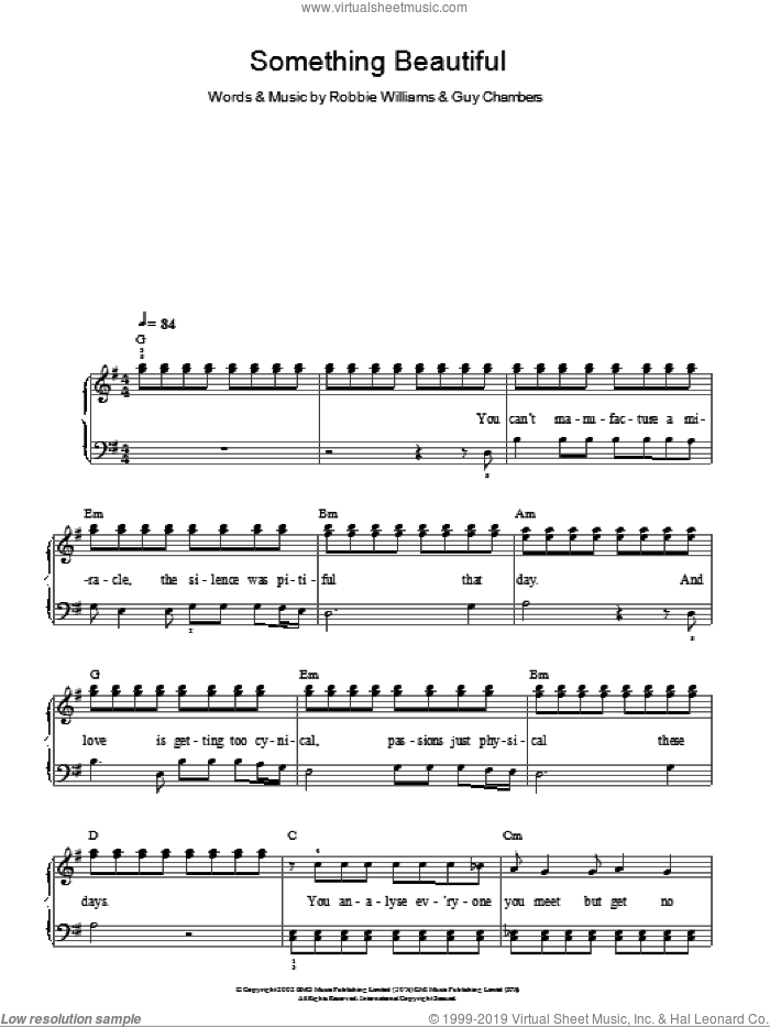 Something Beautiful sheet music for piano solo by Robbie Williams and Guy Chambers, easy skill level