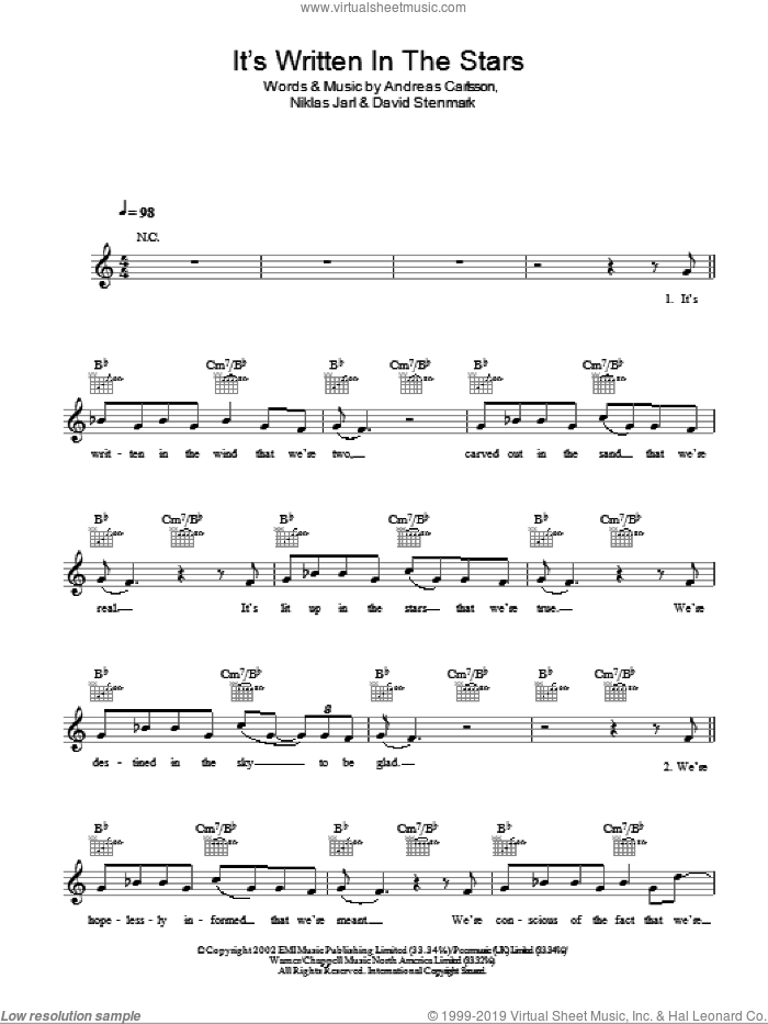 It's Written In The Stars sheet music for voice and other instruments (fake book) by Simon Dine