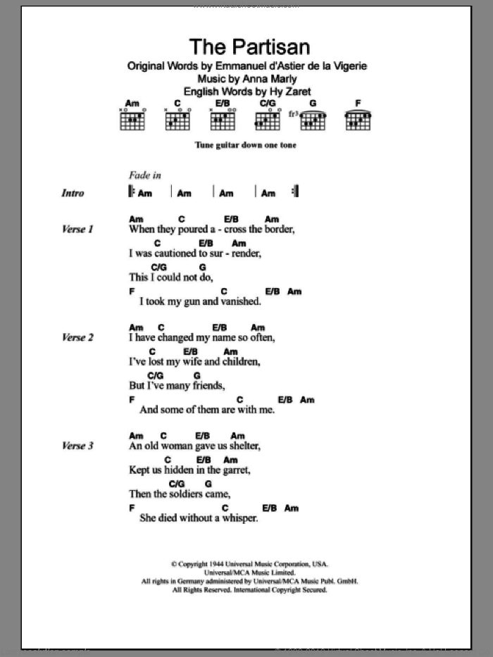 The Partisan sheet music for guitar (chords) by Leonard Cohen, intermediate guitar (chords). Score Image Preview.