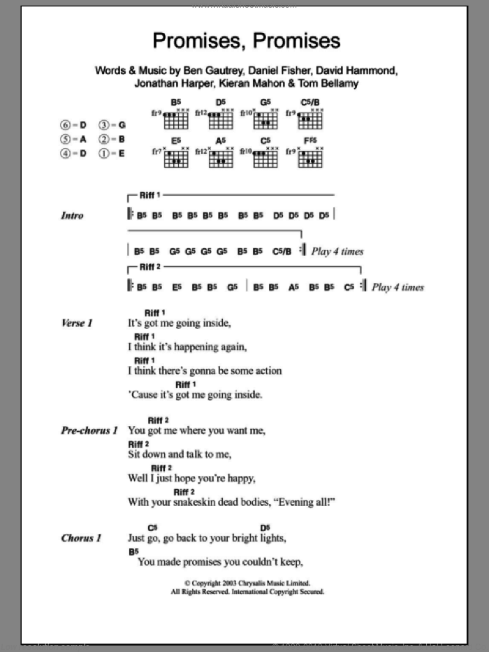 Promises Promises sheet music for guitar (chords) by Tom Bellamy, The Cooper Temple Clause and Kieran Mahon. Score Image Preview.