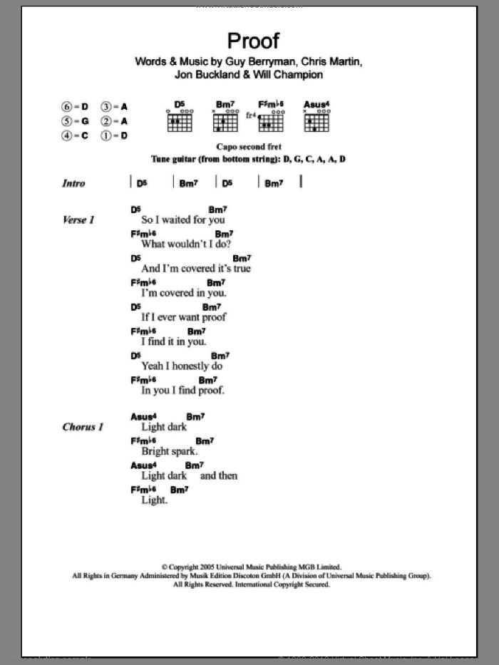 Proof sheet music for guitar (chords) by Coldplay. Score Image Preview.