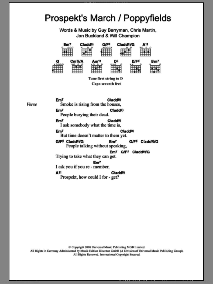 Prospekt's March / Poppyfields sheet music for guitar (chords) by Will Champion, Coldplay, Chris Martin, Guy Berryman and Jon Buckland. Score Image Preview.