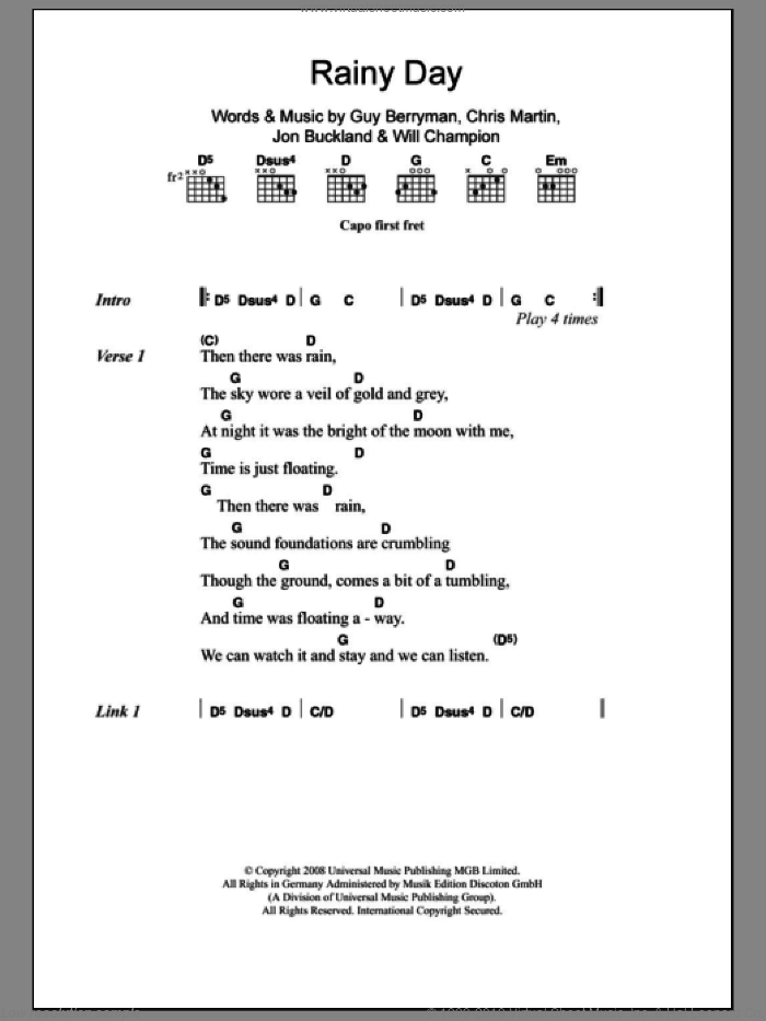 Rainy Day sheet music for guitar (chords) by Will Champion, Coldplay, Chris Martin, Guy Berryman and Jon Buckland. Score Image Preview.