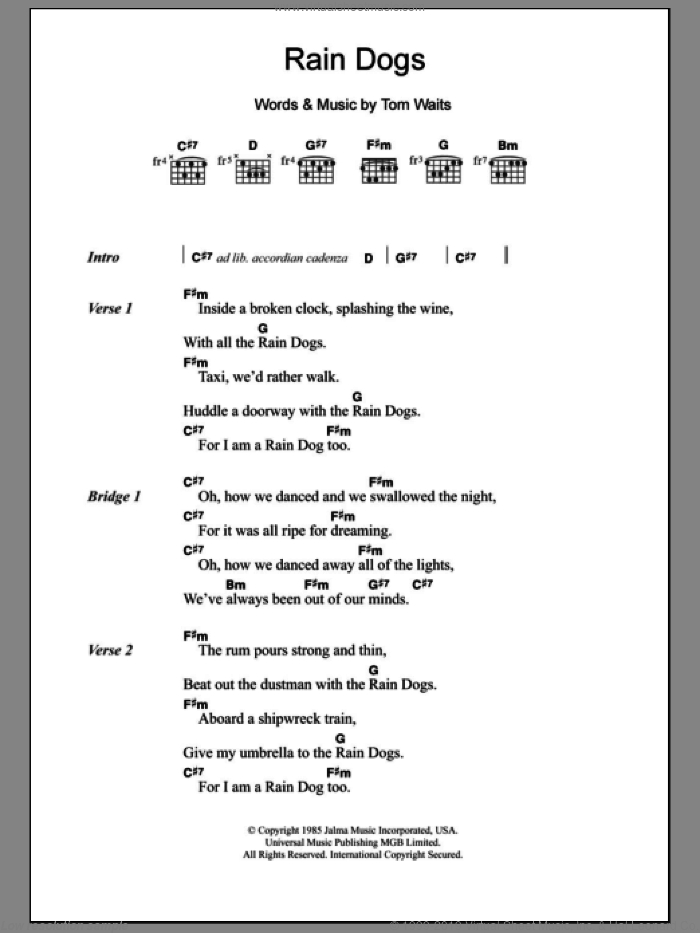 Rain Dogs sheet music for guitar (chords) by Tom Waits, intermediate