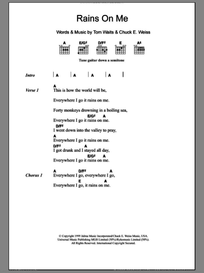 Rains On Me sheet music for guitar (chords) by Chuck E. Weiss and Tom Waits. Score Image Preview.