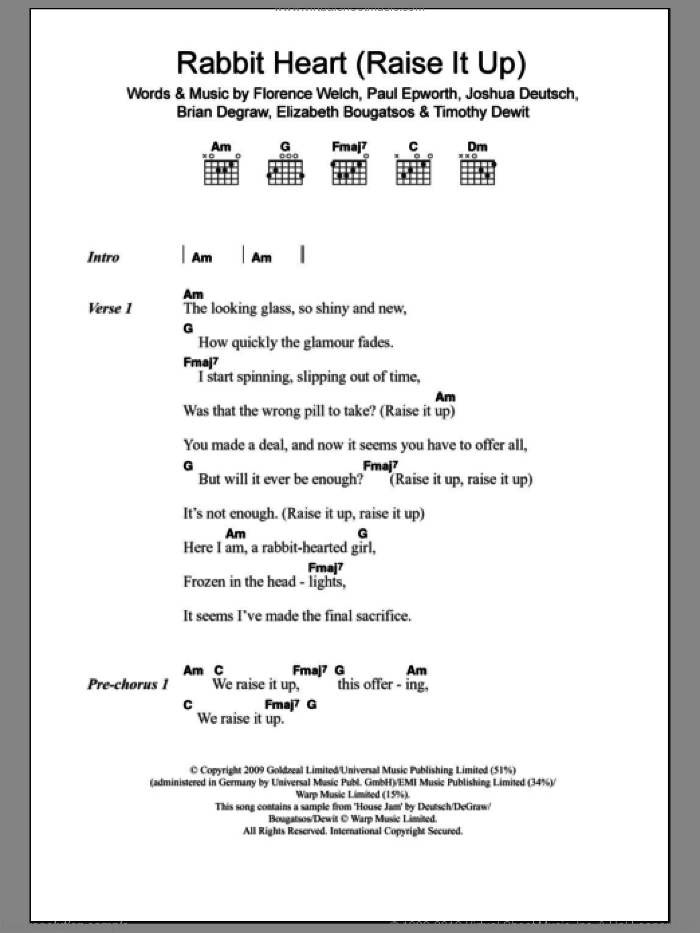 Rabbit Heart (Raise It Up) sheet music for guitar (chords) by Florence And The Machine, Florence And The  Machine, Brian Degraw, Elizabeth Bougatsos, Florence Welch, Joshua Deutsch, Paul Epworth and Timothy Dewit, intermediate skill level
