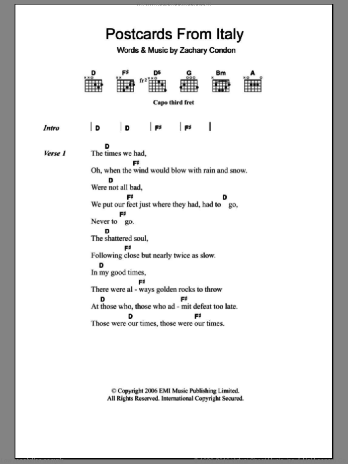 Postcards From Italy sheet music for guitar (chords) by Beirut and Zachary Condon, intermediate. Score Image Preview.