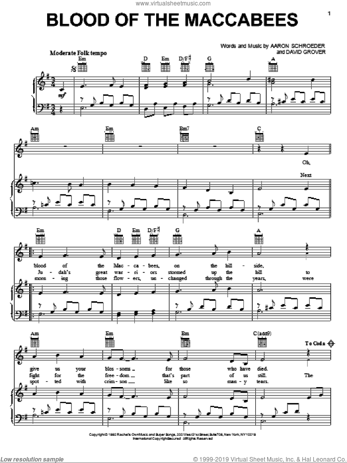 Blood Of The Maccabees sheet music for voice, piano or guitar by David Grover & The Big Bear Band, Aaron Schroeder and David Grover, intermediate. Score Image Preview.