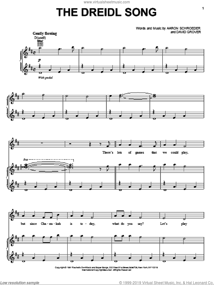 The Dreidl Song sheet music for voice, piano or guitar by David Grover & The Big Bear Band and Aaron Schroeder. Score Image Preview.