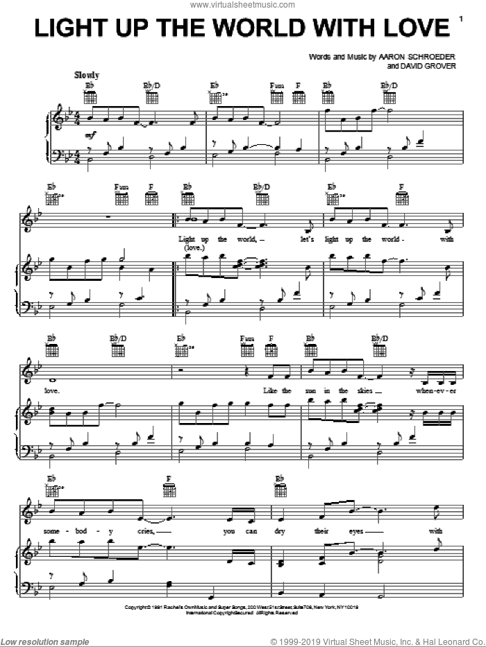 Light Up The World With Love sheet music for voice, piano or guitar by David Grover & The Big Bear Band, Aaron Schroeder and David Grover, intermediate. Score Image Preview.