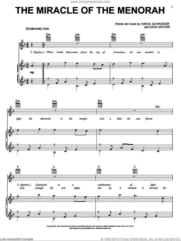 The Miracle Of The Menorah sheet music for voice, piano or guitar by David Grover and Aaron Schroeder. Score Image Preview.