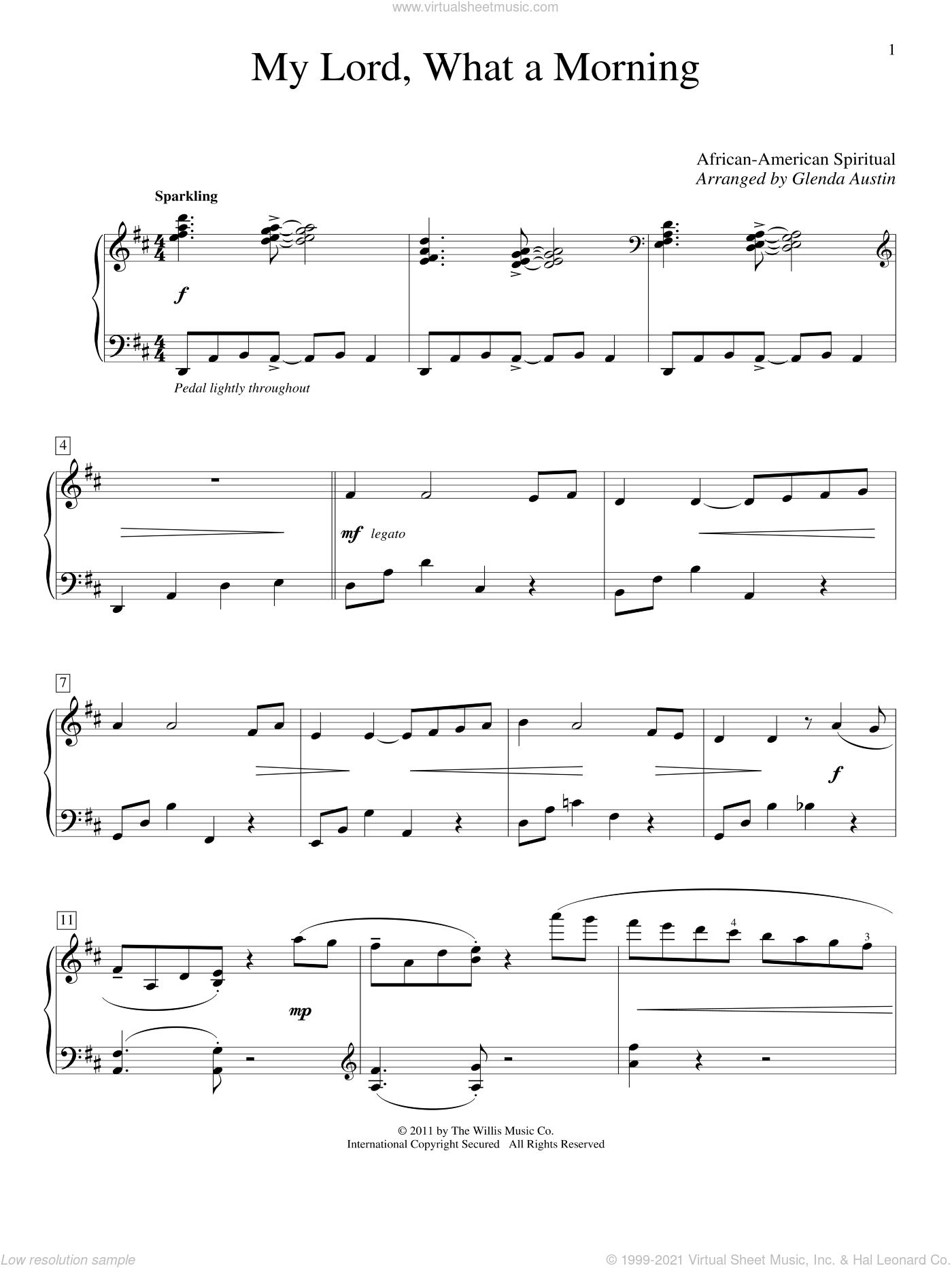 My Lord, What A Morning sheet music for piano solo (elementary)  and Glenda Austin, beginner piano (elementary)