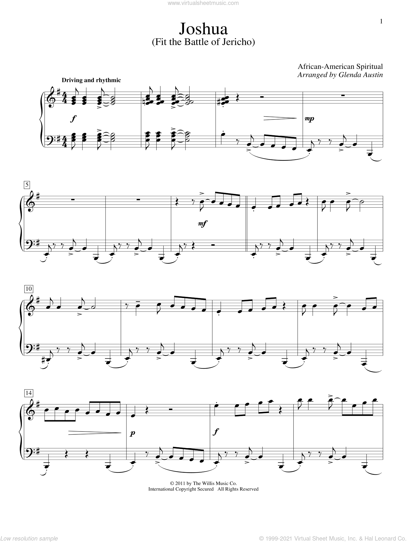 Joshua (Fit The Battle Of Jericho) sheet music for piano solo (elementary)  and Glenda Austin. Score Image Preview.